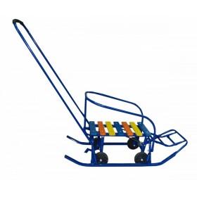 санки с перекидной ручкой и 4 колесиками